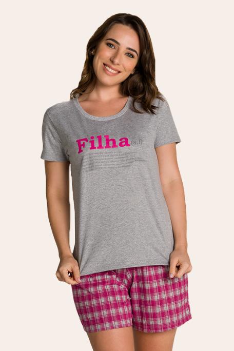 200/A - Pijama Adulto Feminino Xadrez Família Completa Estampa Filha