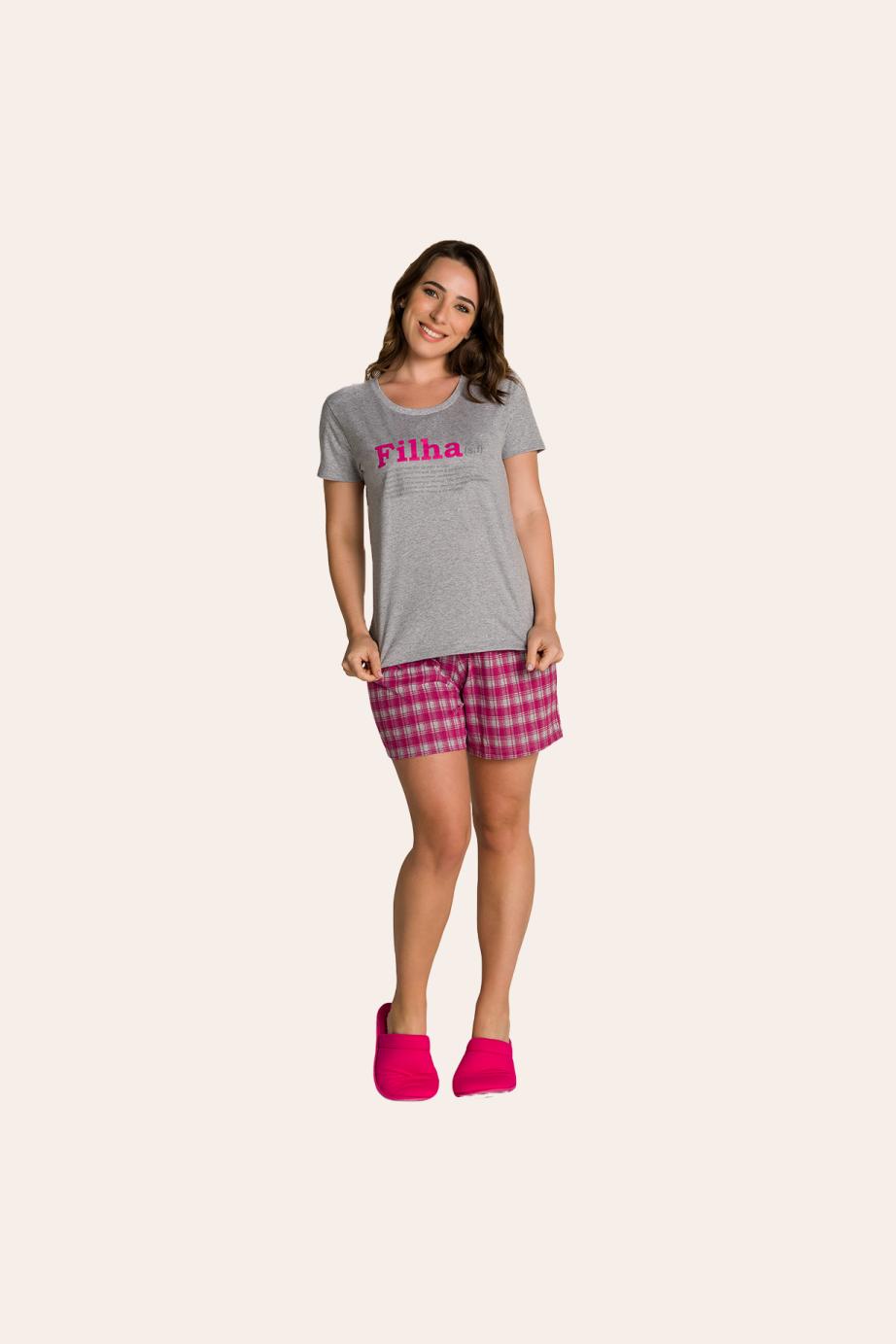 001/B - Pijama Adulto Feminino Xadrez Família Completa Estampa Filha