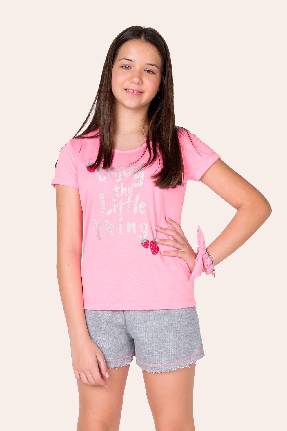 001/B - Pijama Juvenil Feminino Enjoy Com Scrunchie