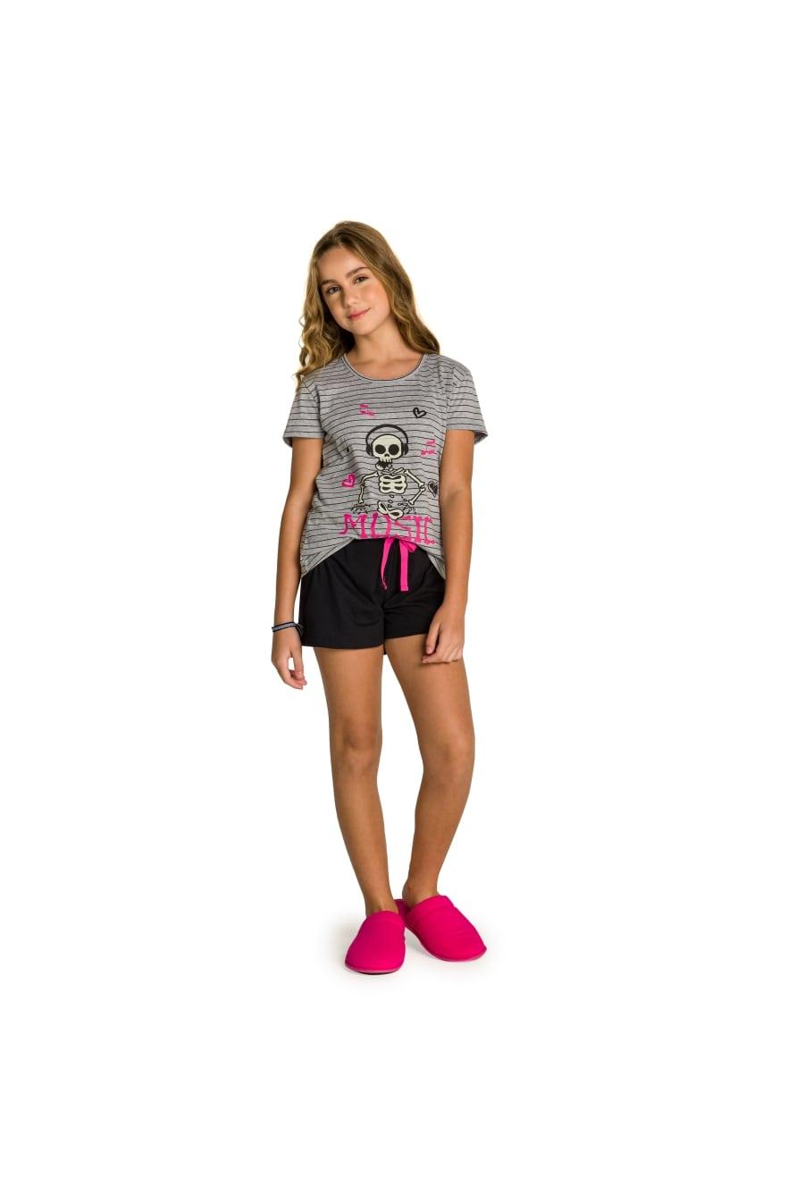 002/N - Pijama Juvenil Feminino Família Skeleton - Brilha no Escuro