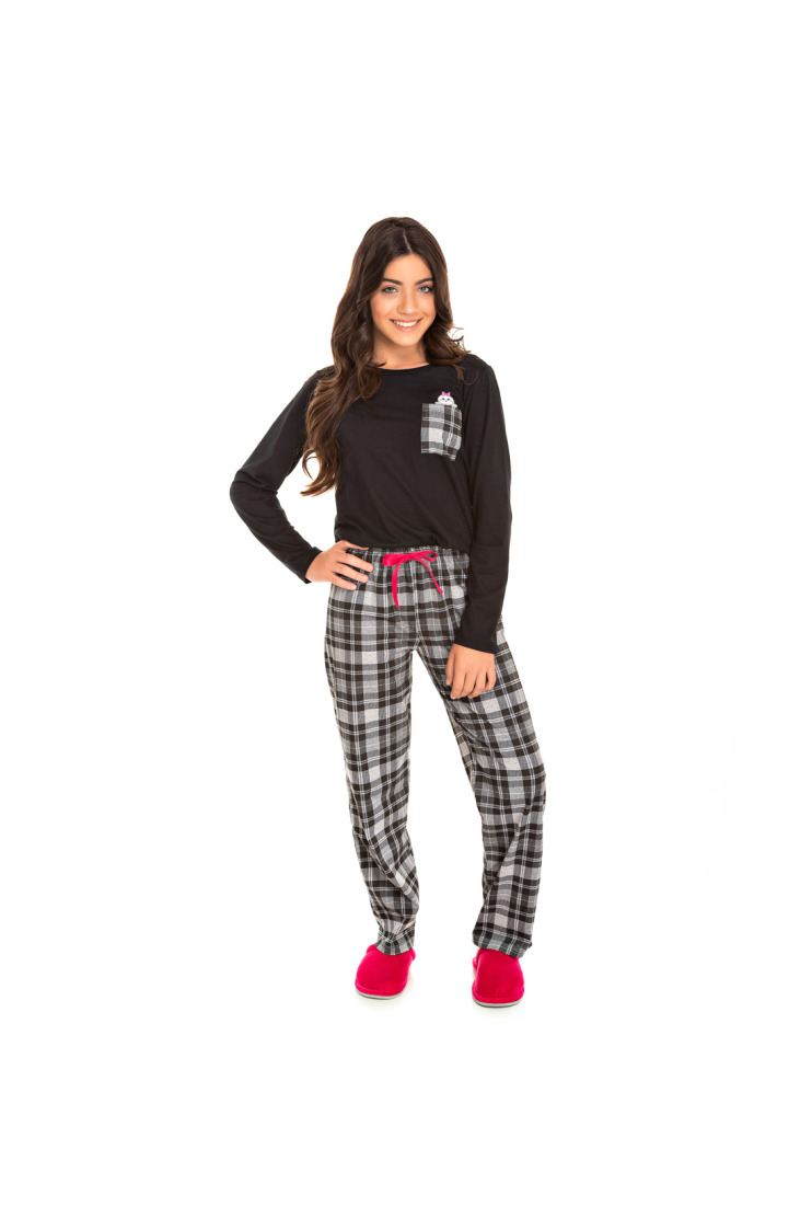 001/H - Pijama Juvenil Feminino Xadrez