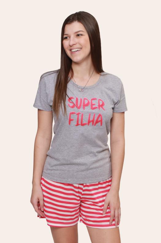 002/C - Pijama Adulto Feminino Super Filha