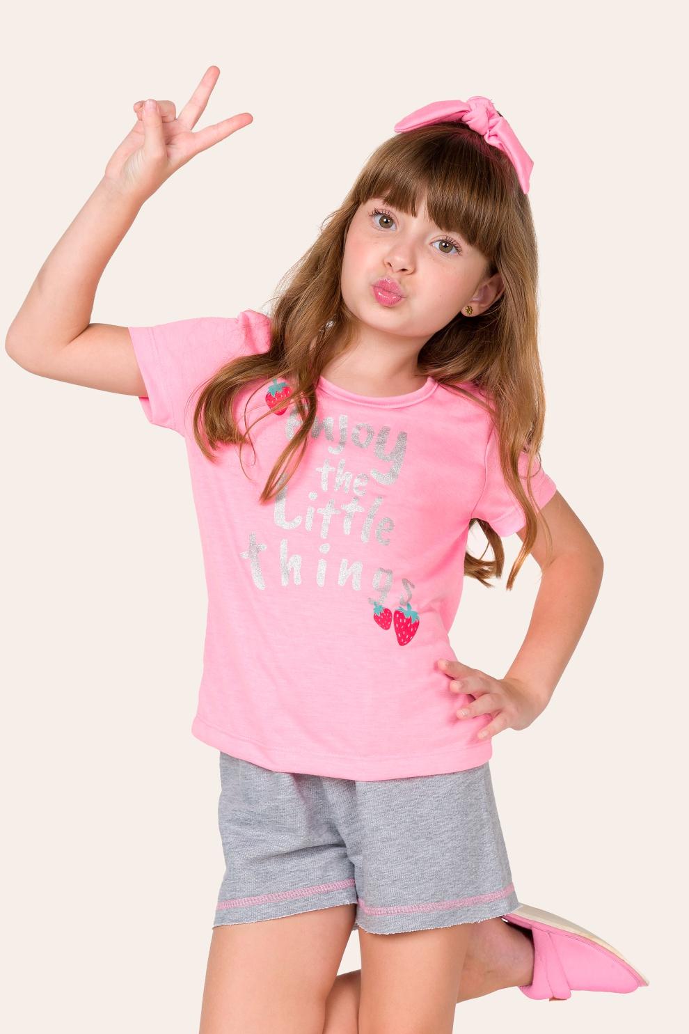 001/C - Pijama Infantil Feminino Enjoy Com Scrunchie