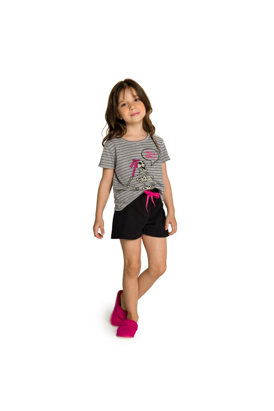 002/O - Pijama Infantil Feminino Família Skeleton - Brilha no Escuro
