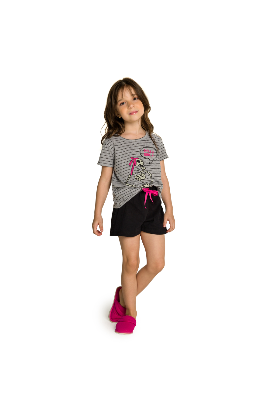 001/C - Pijama Infantil Feminino Família Skeleton - Brilha no Escuro