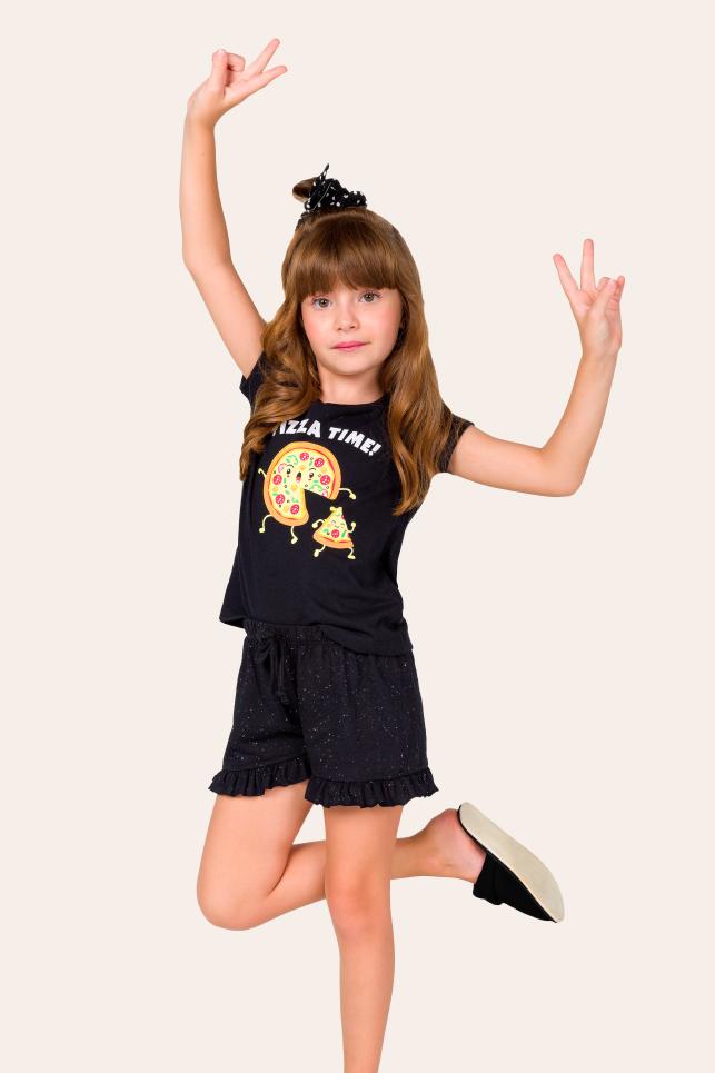 007/C - Pijama Infantil Feminino Pizza Time - Família