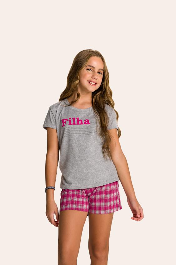 001/C -  Pijama Juvenil Feminino Xadrez Família Completa