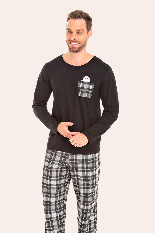 000/D - Pijama Adulto Masculino Xadrez Preto