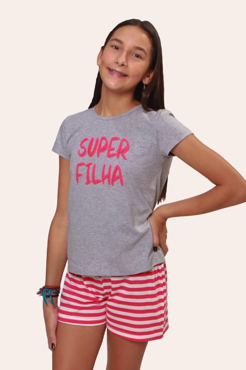 001/D - Pijama Juvenil Feminino Super Filha