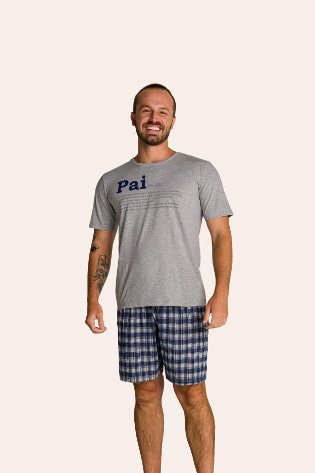 001/E - Pijama Adulto Masculino Xadrez Família Completa