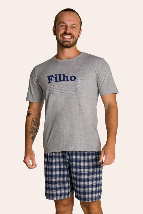 002/F - Pijama Adulto Masculino Xadrez Família Completa Estampa Filho