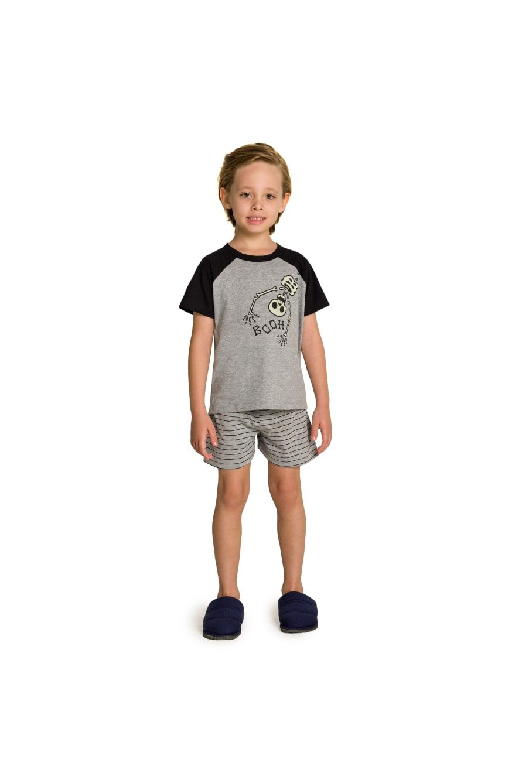 001/F - Pijama Infantil Masculino Booh Família Skeleton - Brilha no Escuro
