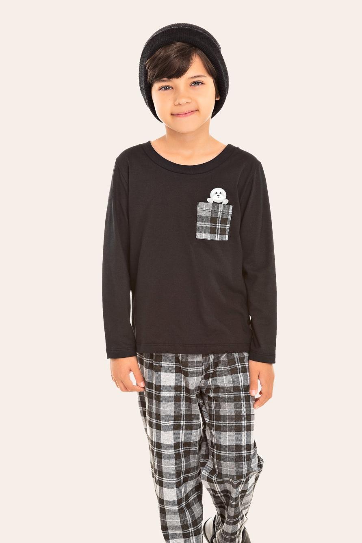 000/F - Pijama Infantil Masculino Xadrez Preto