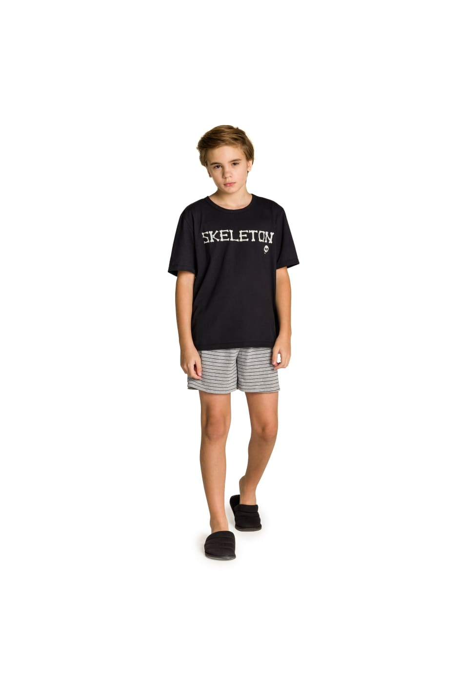 002/Q - Pijama Juvenil Masculino Família Skeleton - Brilha no Escuro