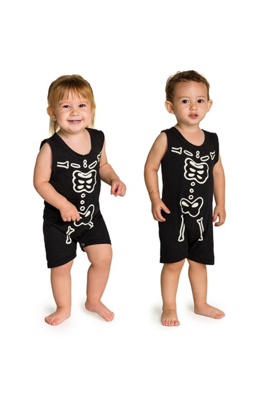 001/G - Macaquinho Bebê Unissex Família Skeleton - Brilha no Escuro