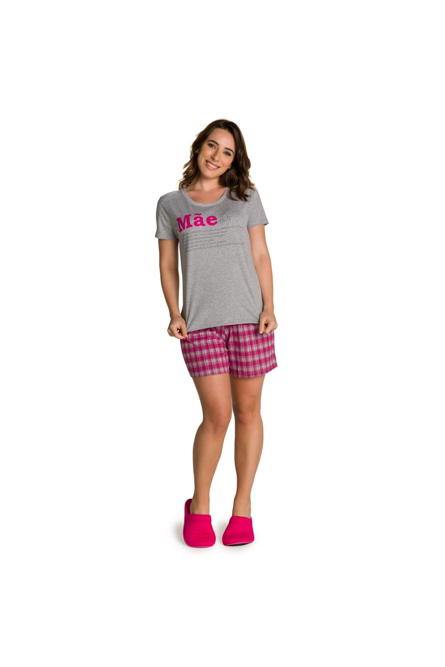 015/A - Pijama Adulto Feminino Xadrez Família Completa