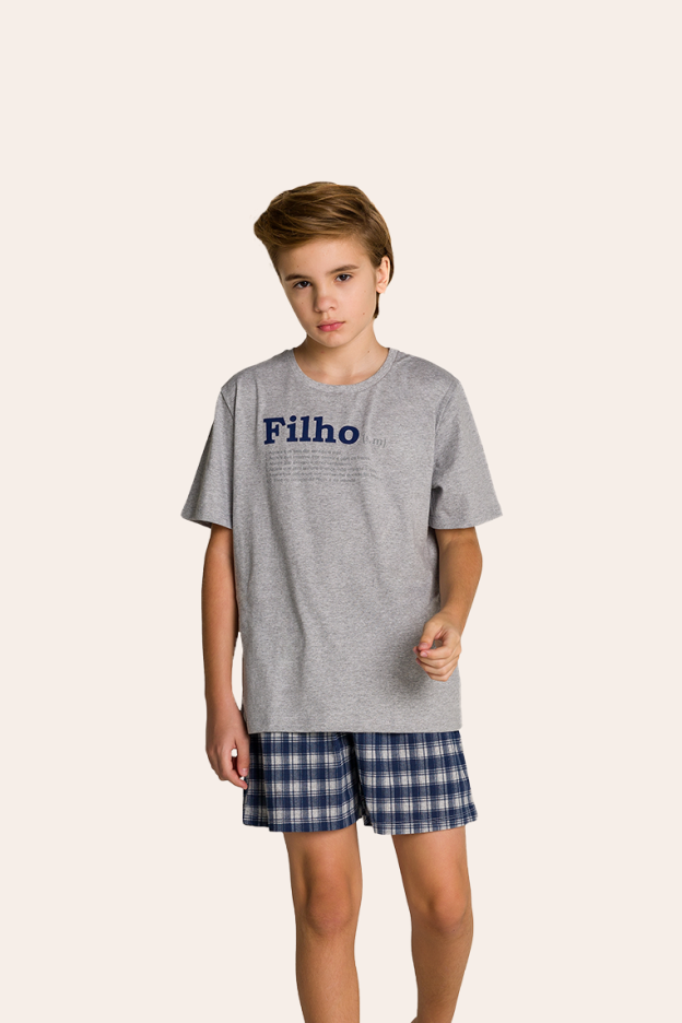 001/G - Pijama Juvenil Masculino Xadrez Família Completa