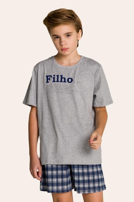 200/F - Pijama Juvenil Masculino Xadrez Família Completa