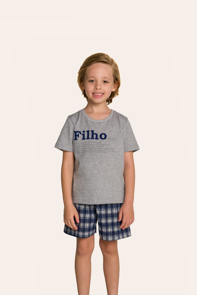 001/H - Pijama Infantil Masculino Xadrez Família Completa