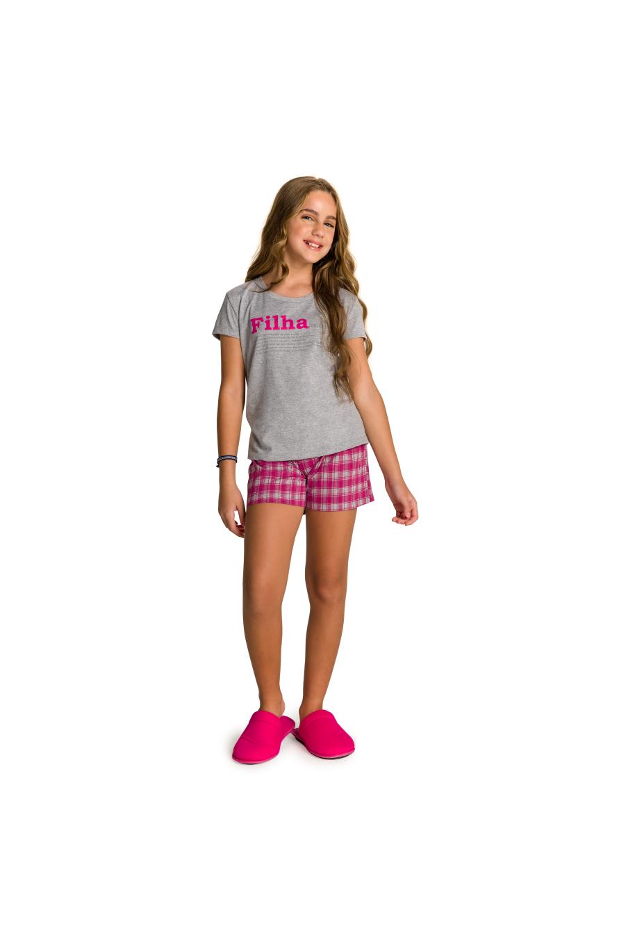 002/H - Pijama Juvenil Feminino Xadrez Família Completa