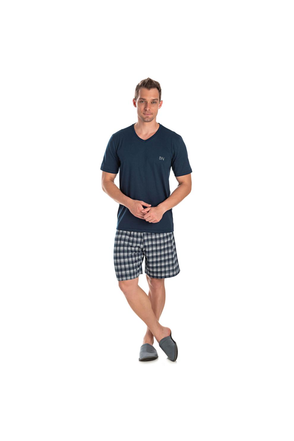 025/D - Pijama Adulto Masculino Bermuda Meia Estação Xadrez