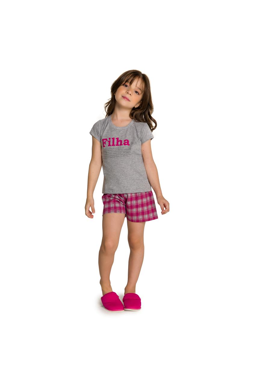 002/I - Pijama Infantil Feminino Xadrez Família Completa