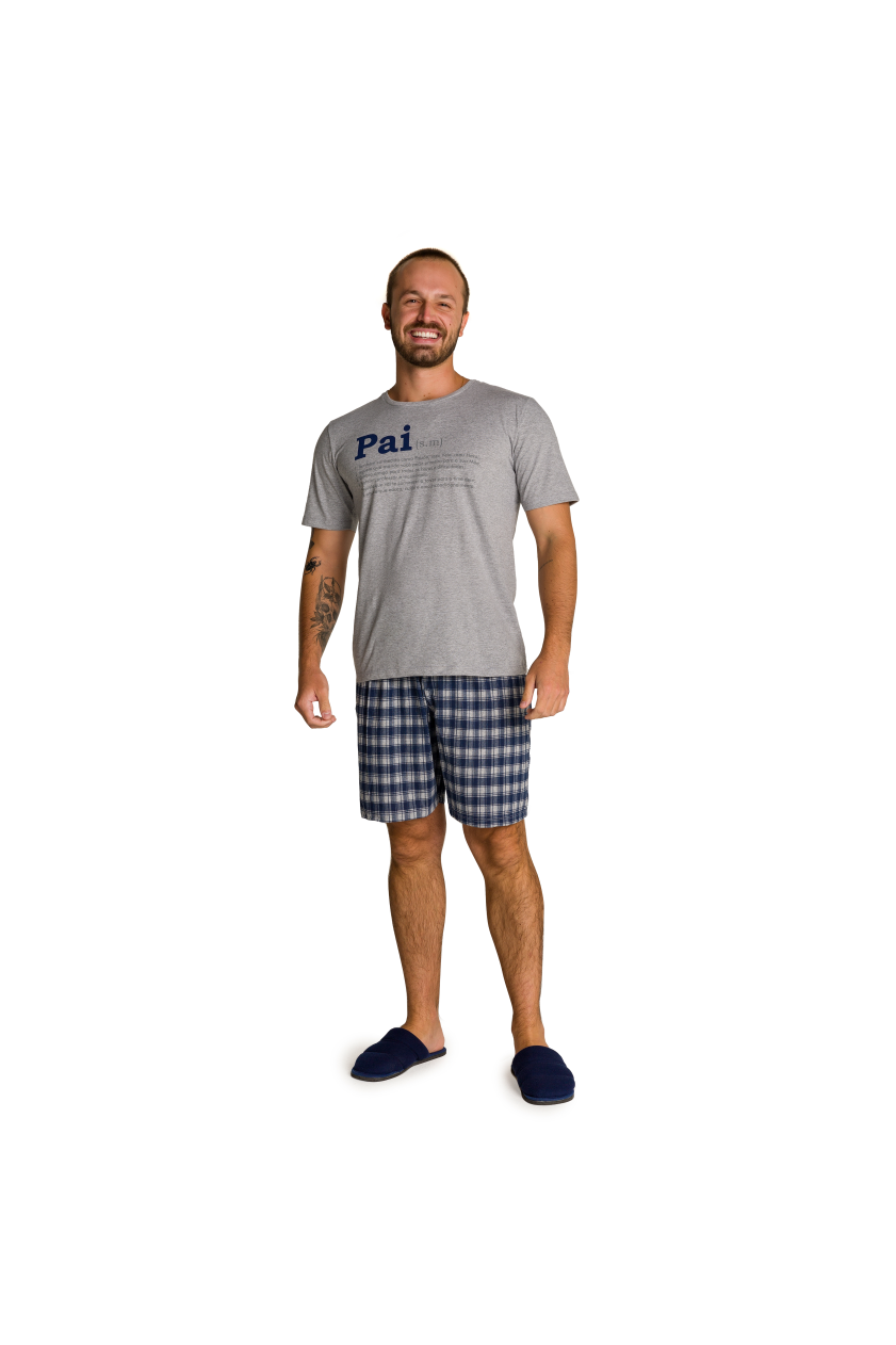 002/J - Pijama Adulto Masculino Xadrez Família Completa