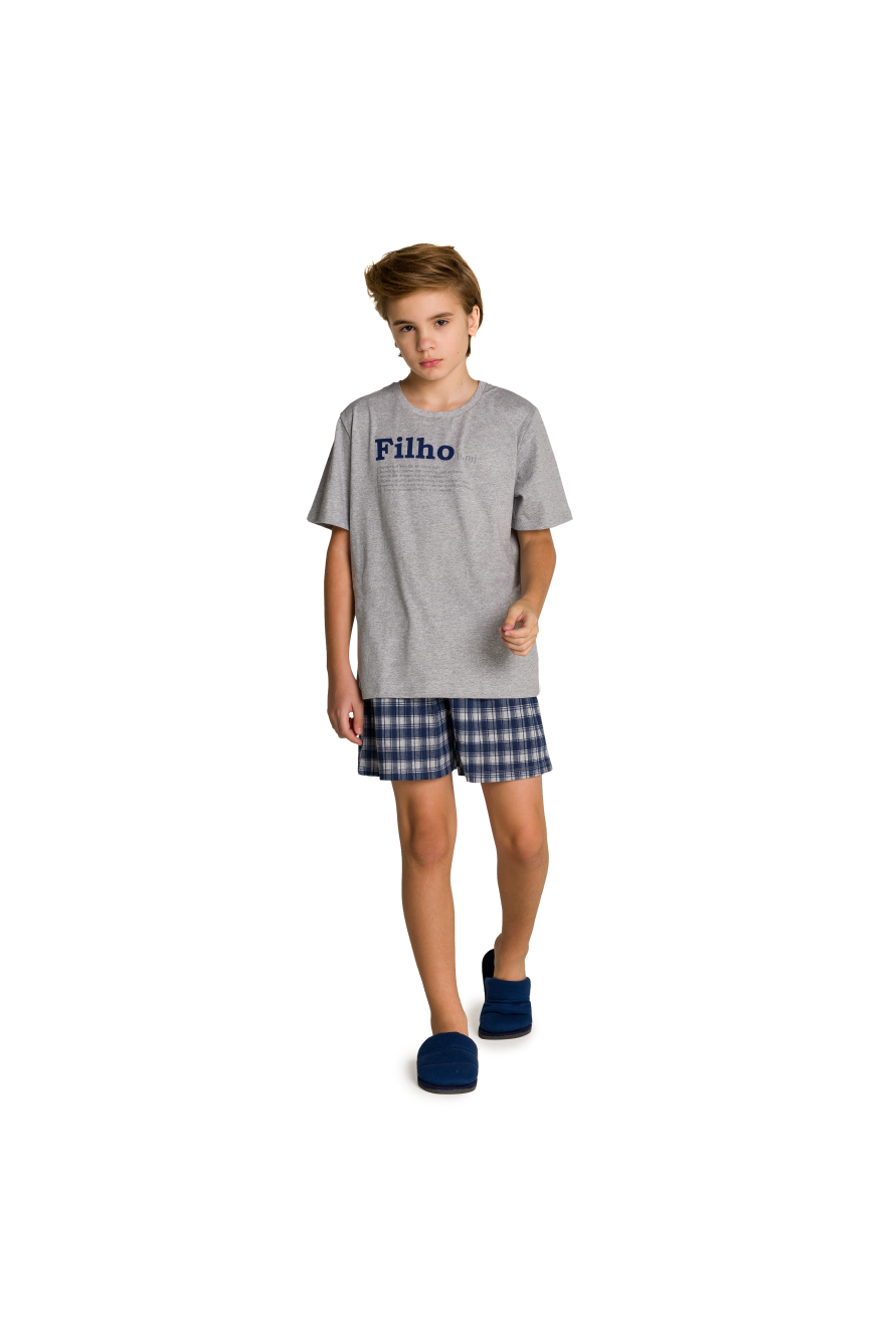 002/K - Pijama Juvenil Masculino Xadrez Família Completa