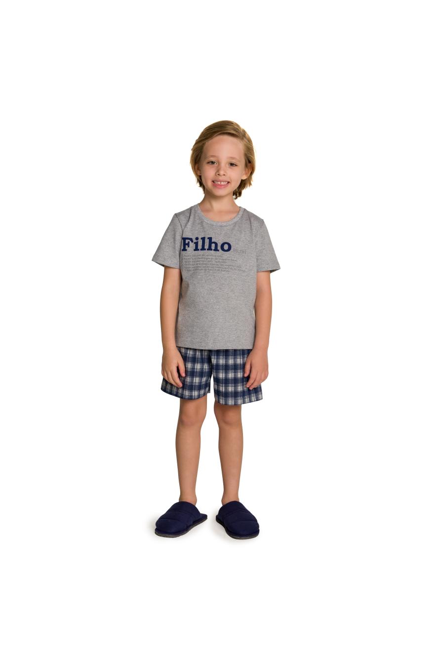 002/L - Pijama Infantil Masculino Xadrez Família Completa