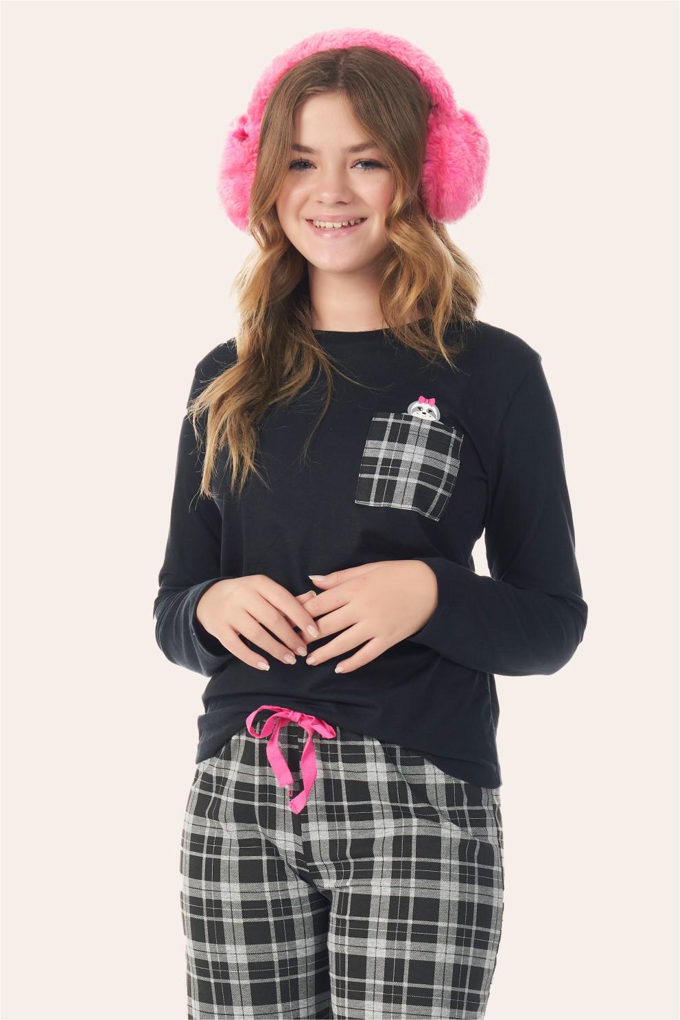 002/B - Pijama Juvenil Feminino Xadrez Preto