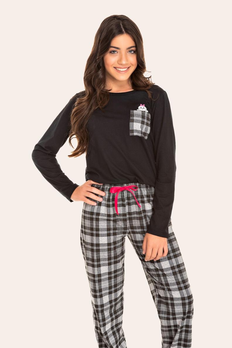 036/B - Pijama Juvenil Feminino Xadrez Preto