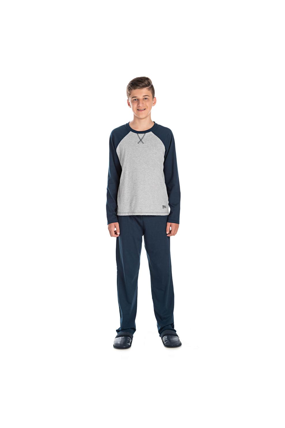 050/J - Pijama Juvenil Masculino com Aplique Termocolante