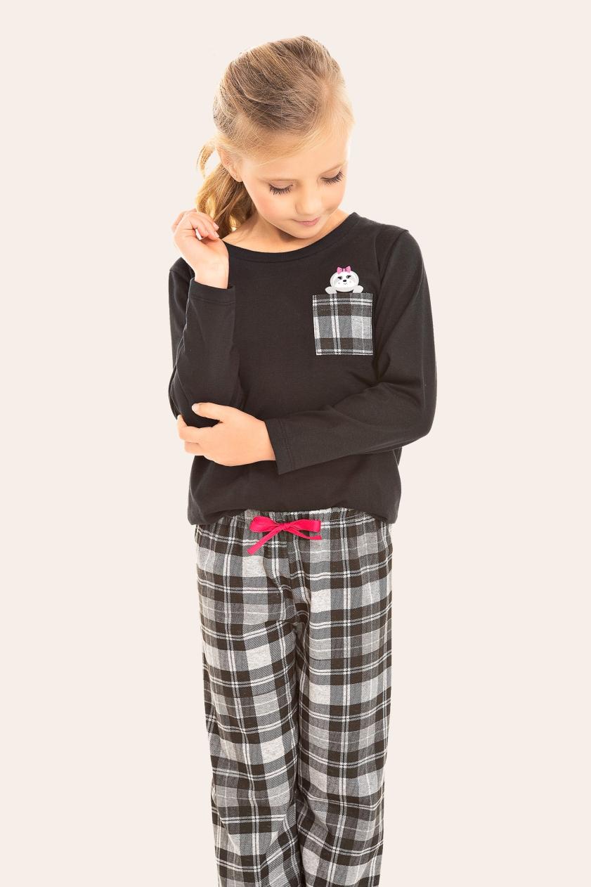 036/C - Pijama Infantil Feminino Xadrez Preto