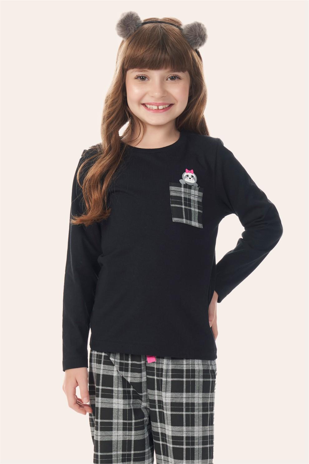 002/C - Pijama Infantil Feminino Xadrez Preto
