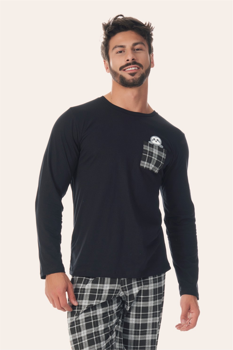002/D - Pijama Adulto Masculino Xadrez Preto