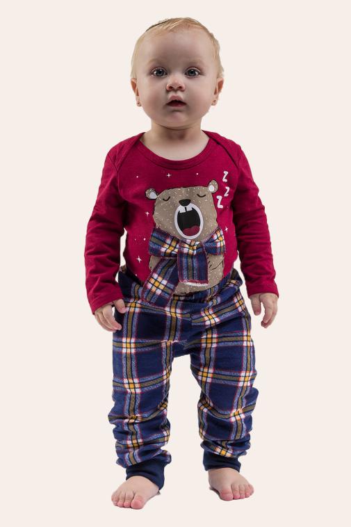 000/D - Pijama  Bebê Unissex Família Xadrez