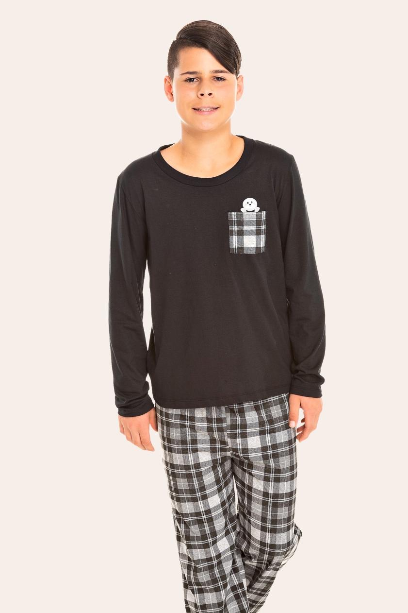 036/E - Pijama Juvenil Masculino Xadrez Preto