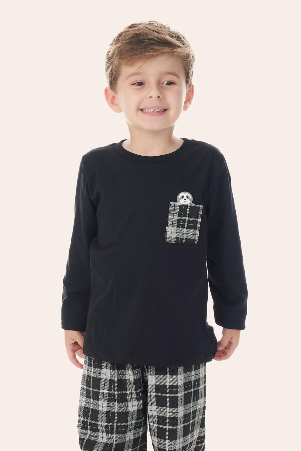 002/F - Pijama Infantil Masculino Xadrez Preto