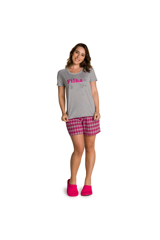 015/B - Pijama Adulto Feminino Xadrez Família Completa Estampa Filha