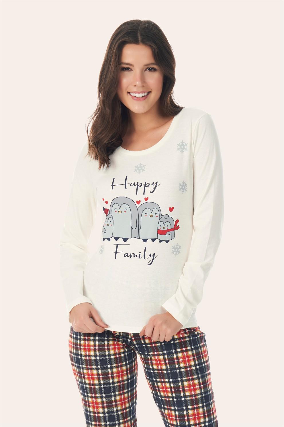 002/H - Pijama Adulto Feminino Happy Family