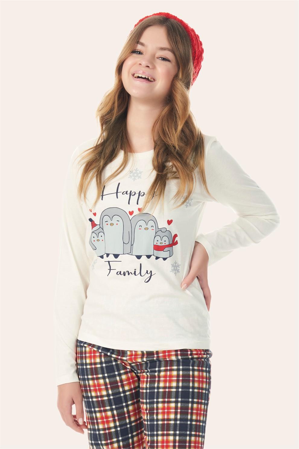 002/I - Pijama Juvenil Feminino Happy Family