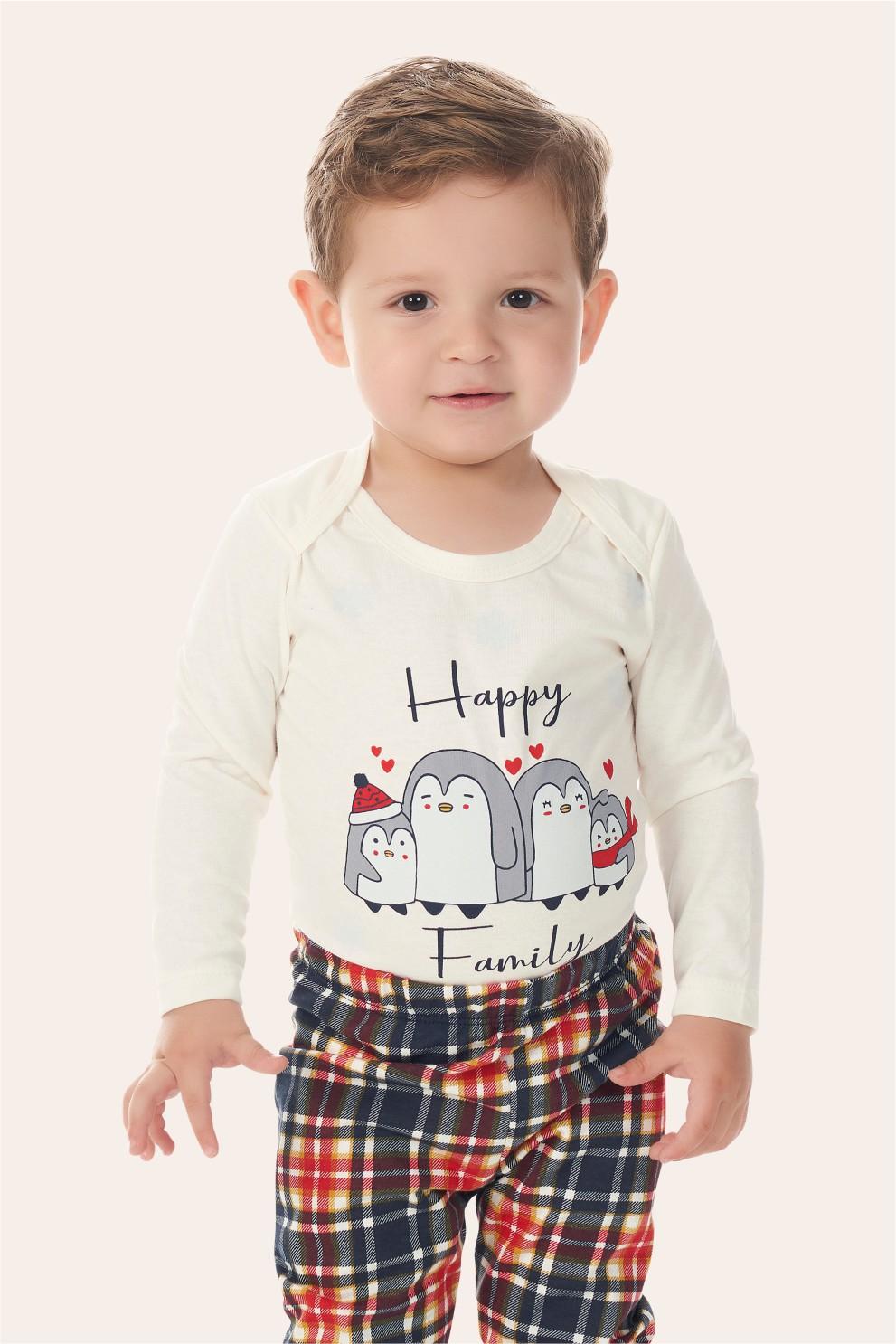 002/O - Pijama Bebê Unissex Família Happy Family