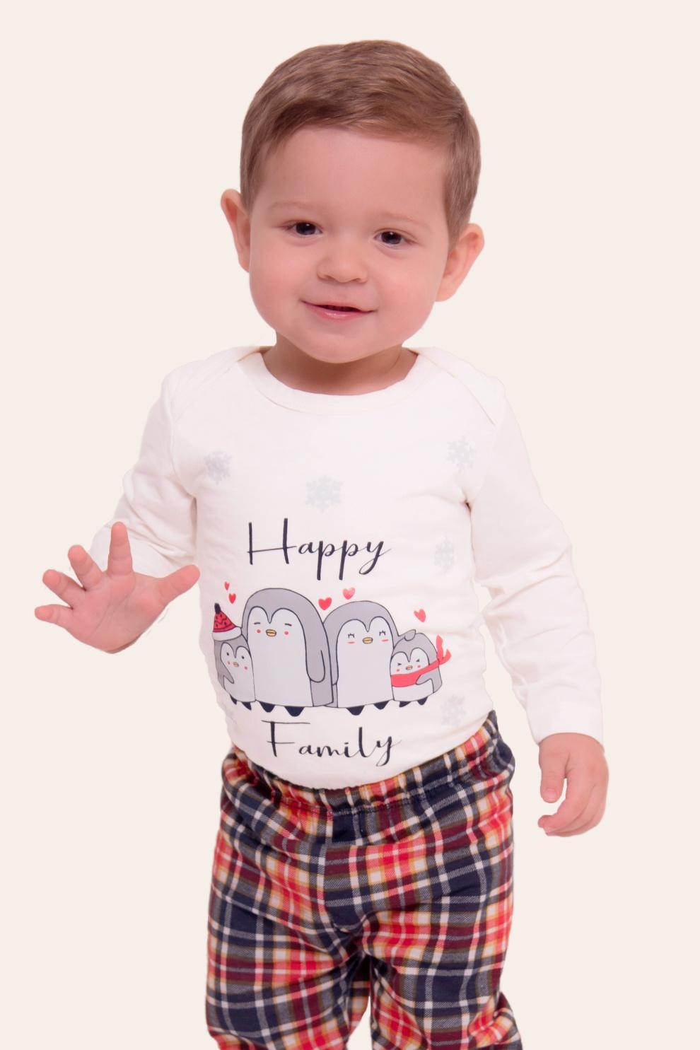 036/O - Pijama Bebê Unissex Família Happy Family