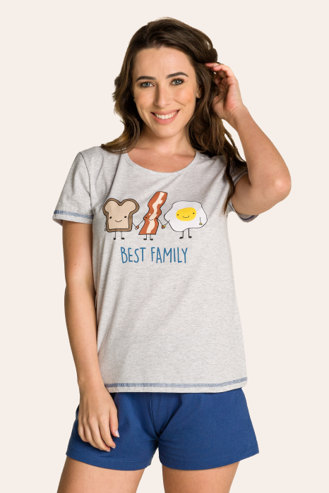 003/A - Pijama Adulto Feminino Best Family