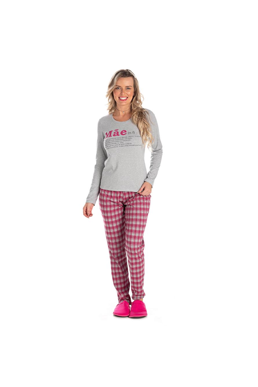 012/A - Pijama Adulto Feminino Xadrez Família Completa