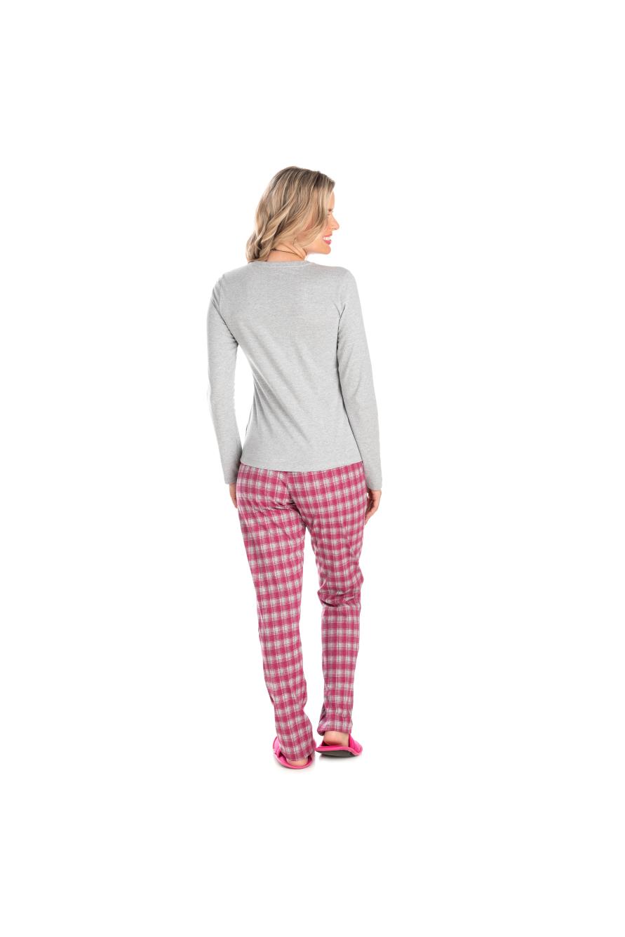 206/A - Pijama Adulto Feminino Xadrez Família Completa