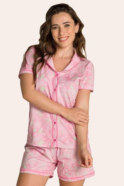 006/A - Short doll Maternidade Tie dye com Gola e Filetes