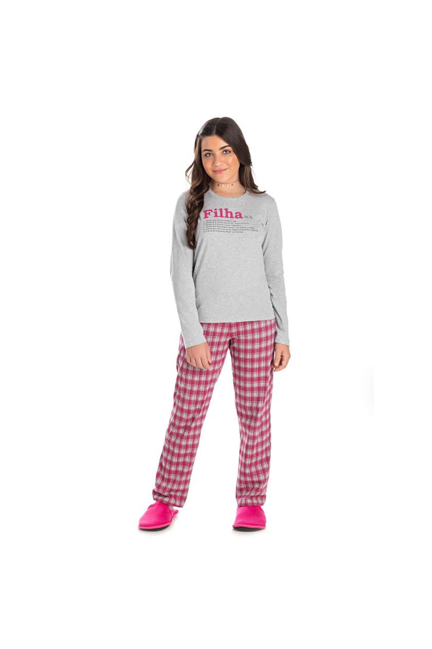 012/B - Pijama Juvenil Feminino Xadrez Família Completa