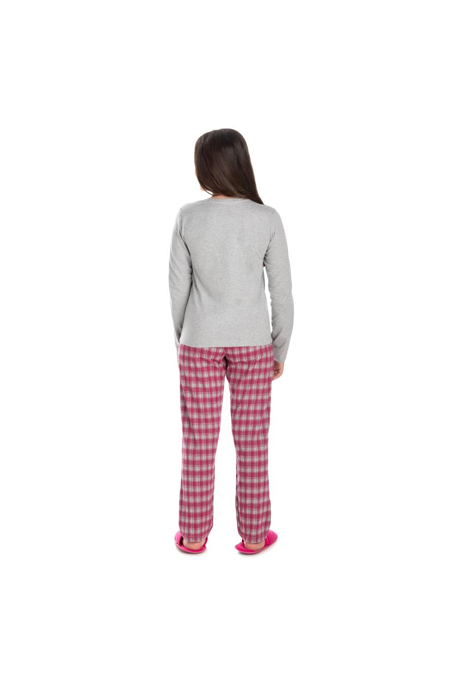 190/B - Pijama Juvenil Feminino Xadrez Família Completa