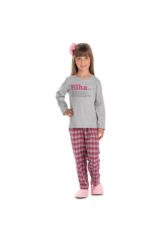 003/C- Pijama Infantil Feminino Xadrez Família Completa